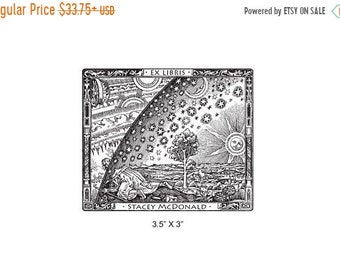 May Sale Flammarion Engraving Antique Art  Personalized Bookplate Ex Libris Rubber Stamp J01
