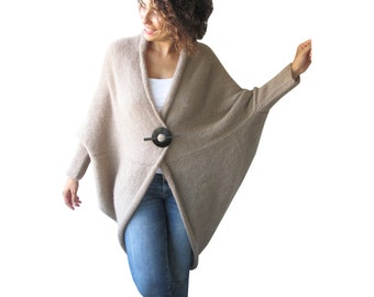 NEW! Plus Size Over Size Beige Wool Overcoat - Poncho - Cardigan