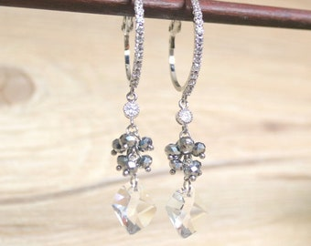 Crystal drop earrings, Dangle & Drop Earrings, Wedding jewelry, Crystal earrings, Bridal earrings, Crystal hoop earrings, bridesmaid earring