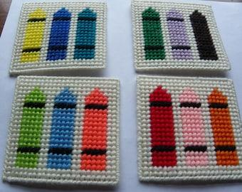 Set of 4 Plastic Canvas Crayon Coasters   #214