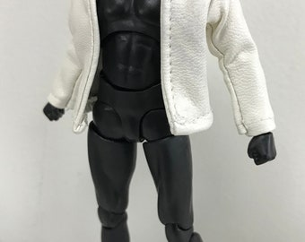 SU-jks-WH: 1/12 Small White Wired Leather Jacket for SHF, Figma (No figure)