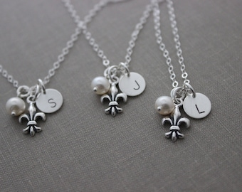 Sterling Silver Fleur De Lis Lily Wedding Party Necklaces- Bridal Party Set - New Orleans with white pearl and  Mini Initial Disc custom