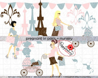 Pregnant In Paris Nursery: Clip Art Pack Card Making Digital Maternity Fashion French Poodle Baby Shower Pink Blue Brown