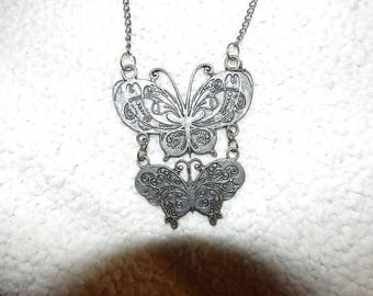 Large vintage art deco double silver plated butterfly necklace - gn20