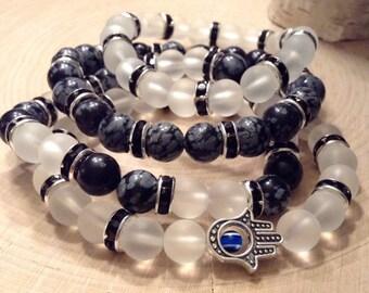 Women's Stackable Obsidian & Quartz Bead Bracelets w/ Hamsa Charm