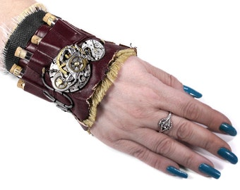 Steampunk Fashion Cuff Wrist Cuff APOTHECARY LEATHeR Vials Watches Gears Coils NIHILiST APOCALYPTiC Cuff - Steampunk Clothing by edmdesigns