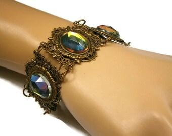 Victorian Style Brass Bracelet / Color Changing Crystals, Pink, Blue, Green, Gold /Link Bracelet / Brass Filigree Cuff Bracelet
