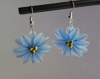Dangle Blue Flower Earrings  #425   Free Shipping within US