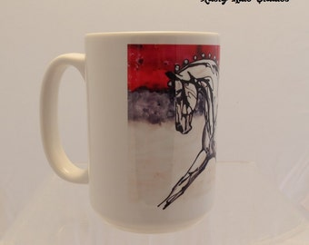 Red Dressage contemporary equestriann mug 15oz