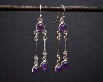 Amethyst Earrings, Amethyst Drops, Silver Drop Earrings, Amethyst and Silver, February Birthstone, Long Drop Earrings, Sterling Silver