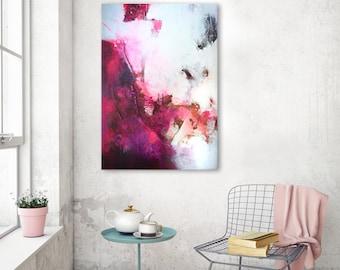 Originele grote abstract schilderij, abstracte kunst, moderne getextureerde artwork, acryl olieverfschilderij, fuchsia roze magenta bordeaux felle kleuren