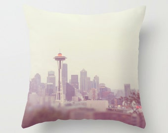 Seattle pillow cover, Pacific Northwest home decor, Space Needle art, Seattle skyline photography, blue purple gray, sofa throw pillow