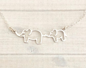 Mama and Baby Elephant Necklace, Mom and Baby Elephant Necklace, Elephant Necklace, New Mom Gift, Mother Child Necklace, Mother's Day Gift