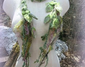 silk scarf lariat spring fantasy fiber art yarn braid adornment - lady of leaves