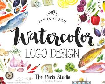 Custom Logo Design Pay As You Go Food Logo Restaurant Branding Watercolor Fruits Veggie Logo Design Website Logo Blog Logo Boutique Logo