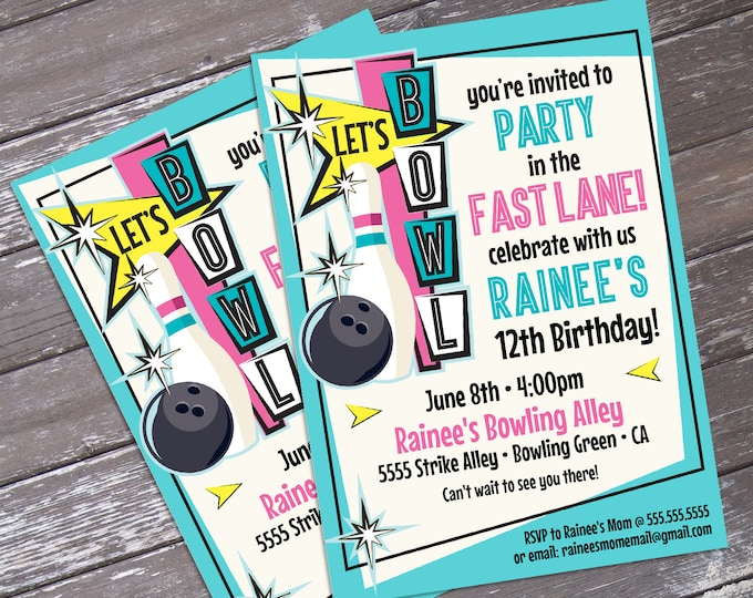 Bowling Invitations - Pink Bowling Party, Bowling Birthday, Retro Bowling, Bowling Invite - Editable Text - INSTANT Download PDF Printable