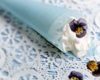 Pastel Blue or Pink, Red, Orange, or Green Handmade Vellum Cones, Confetti Cones, Wedding Paper Cones, Dessert Cones - Set/10, unfilled