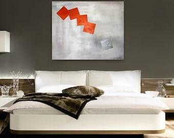 Original Abstract Painting handmade artwork 30x40  copper and silver contemporary, modern artwork beautiful wall decor art cubes