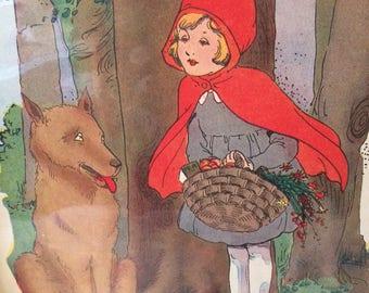 Vintage 1930s Lot of Four 4  Illustrated Nursery Prints Little Red Riding Hood Big Bad Wolf Ephemera Childrens Room Prints for Framing