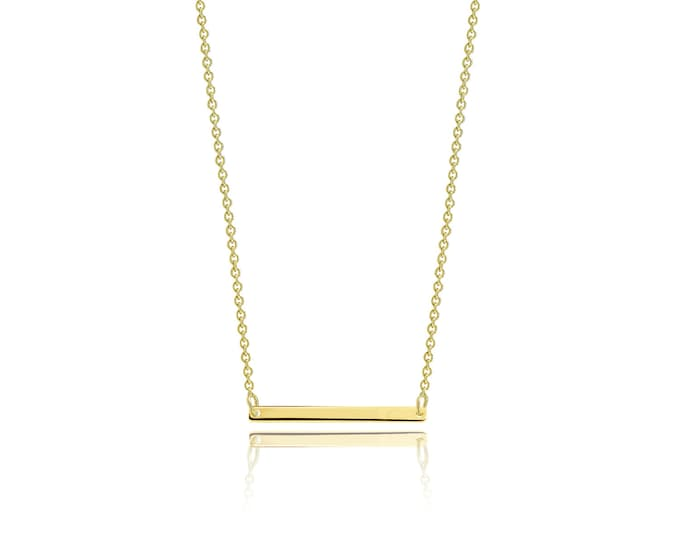Featured listing image: 14K Solid Yellow Gold Custom Horizontal Bar Pendant Rolo Chain Necklace Set - Polished Charm