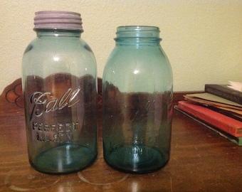 Beautiful set of 2 blue ball half gallon jars