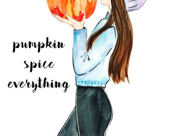 Watercolor Pumpkin Print, Printable Wall Art, Fall Decor Print, Thanksgiving Decor, Fashion Illustration Print, Instant Download Digital