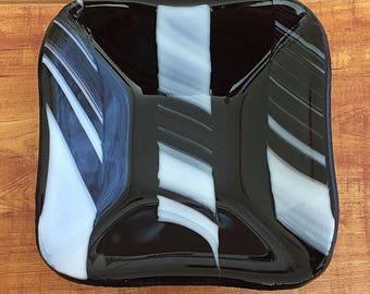 Black Stripe Fused Glass Dish