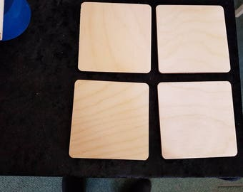 4 Blank birchwood  square, straight or rounded edges corners,  holes or no holes. Ideal for pyrographics  burningwood designs.Tags or plaque