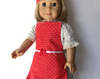 18 Inch Doll Apron and Hat Set, Red - Also Fits American Girl Dolls
