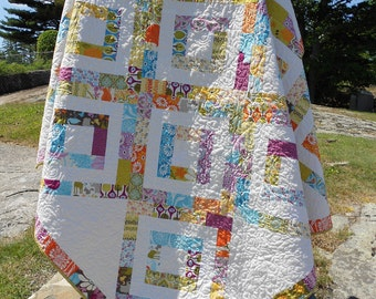 "Quilt Pattern PDF INSTANT DOWNLOAD - Iphigenes Walk Jelly Roll Quilt Pattern 72"" x 72"""