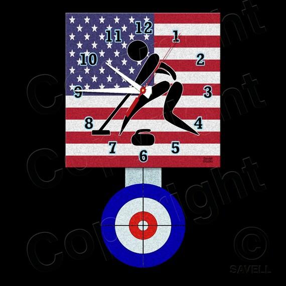 Curling Clock with Pendulum • USA Curling • Curling Team