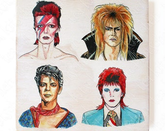 "Faces of David Bowie, handmade 8""x8"" wooden wall art"