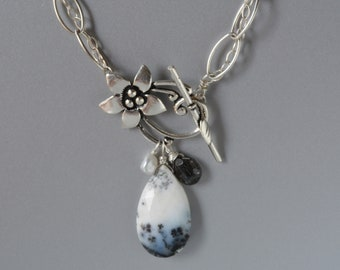 Dendritic Agate Necklace in Silver, Black and White Stone, Flower Toggle, Chain link Necklace. Gift for Her, Statement Necklace
