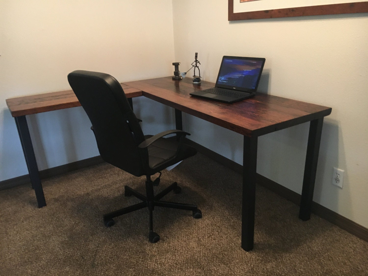 L-shaped Desk. Reclaimed wood desk. Old rustic desk.