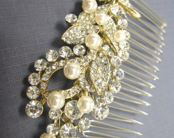 Bridal Hair Comb, Gold Wedding Hair Piece, Gold Bridal Hair Clip, Gold Headpiece, Gold Bridal Comb, Gold Rhinestone Hair Pin,Wedding comb