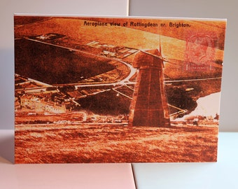 Rottingdean Windmill, Brighton, British Seaside Village, Smock Windmill, Greeting Card, England, Vintage, England, Countryside, Birthday.