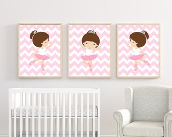 Baby Girl Nursery wall Art. Ballerina Nursery Art Prints. Suits Baby Girl Pink Nursery and bedroom Decor. Custom Colors - H638