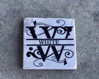 Wedding Gift Stone Drink Coasters - Last Name Rustic Coasters