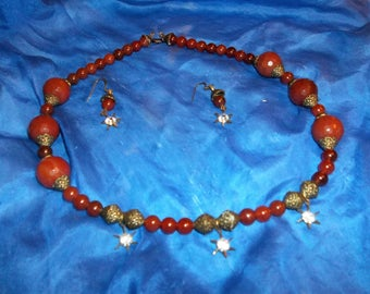 Carnelian (vintage cut .75 inch stones) and Swarovski Crystals mounted in Brass  Necklace and Earring Set