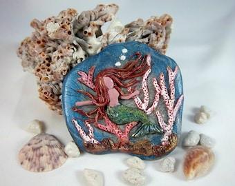 Mermaid Brooch, Sea Life Brooch, Polymer Clay Brooch, Wearable Art, Under the Sea