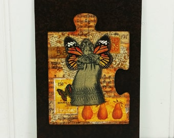 Whimsical Baby Angel Altered Puzzle 5 x 7 Mixed Media Original Art in Autumn Colors