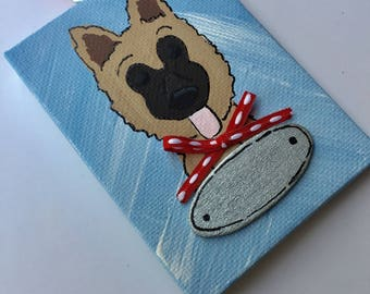 Hand Painted and Personalized German Shepherd Christmas Ornament