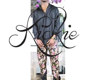 Black Brocade Rose Floral Pant