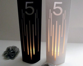 Lines Art Deco Wedding Table Markers, Table Numbers / Modern Table Numbers / Table Signs, Table Decor