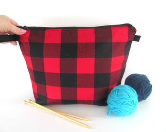 Knitting bag, Knitting project bag, Crochet project bag, gift for knitter, Buffalo plaid, Red Black Lumberjack check - Small or Medium
