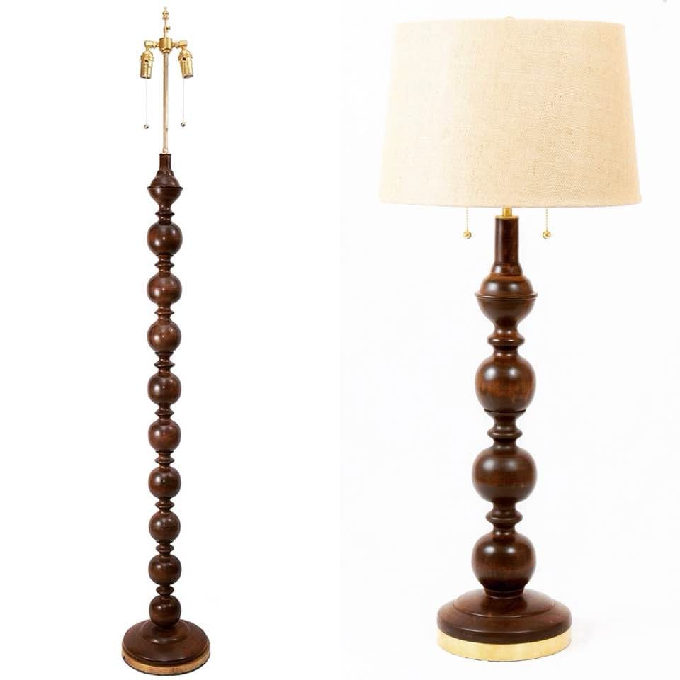 Cherry floor and table lamp set 2 table lamps 1 floor lamp handmade aloadofball Images
