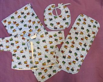"""4 piece baby set - 38""""x40"""" blanket, 18.5""""x8"""" burpie, bib and jacket - 0-3 months - blue trains - cotton flannel - newborn gift set"""