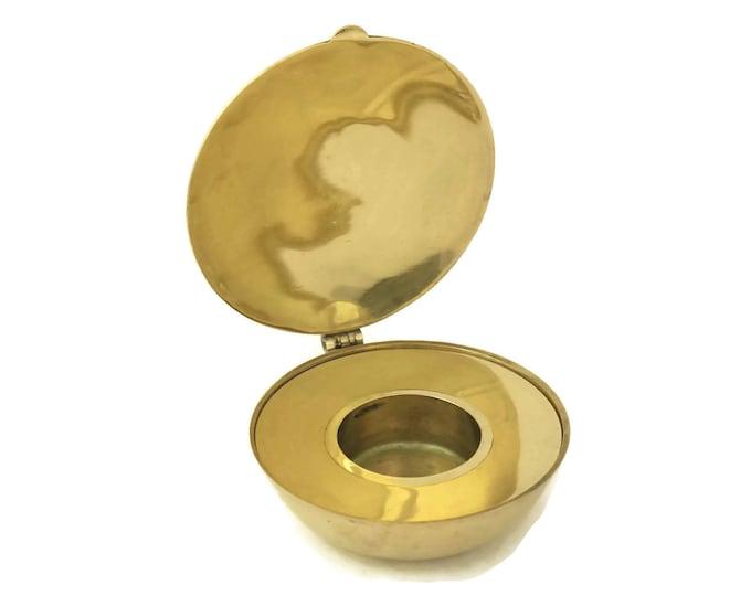 French Vintage Brass Communion Host Bowl. Vintage Pyx. Religious Curiosity.