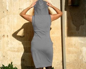 Custom hoodie dress with pockets, Jersey womens dress, Sleevless dress, Day dress, Casual dress, Handmade dress TasiFashion, Custom clothing