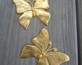 Two Raw Brass Art Deco Large Butterflies